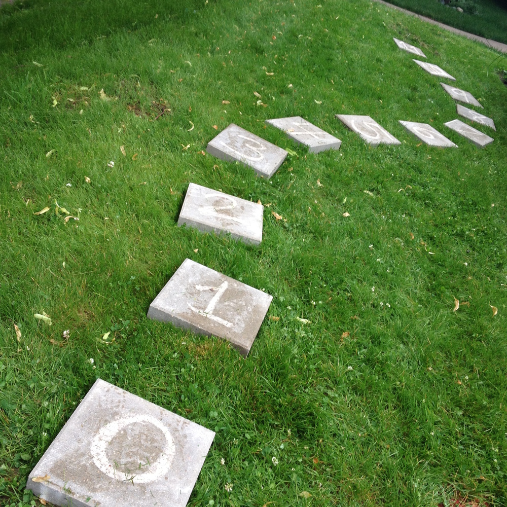 numbered stepping stones