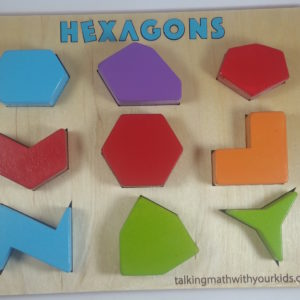 hexagon shape puzzle with 9 brightly colored hexagons, mostly irregular