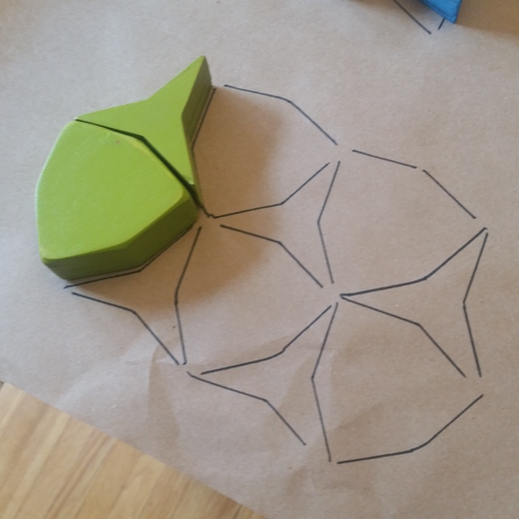 tiling made by tracing two hexagons from the hexagon shape puzzle