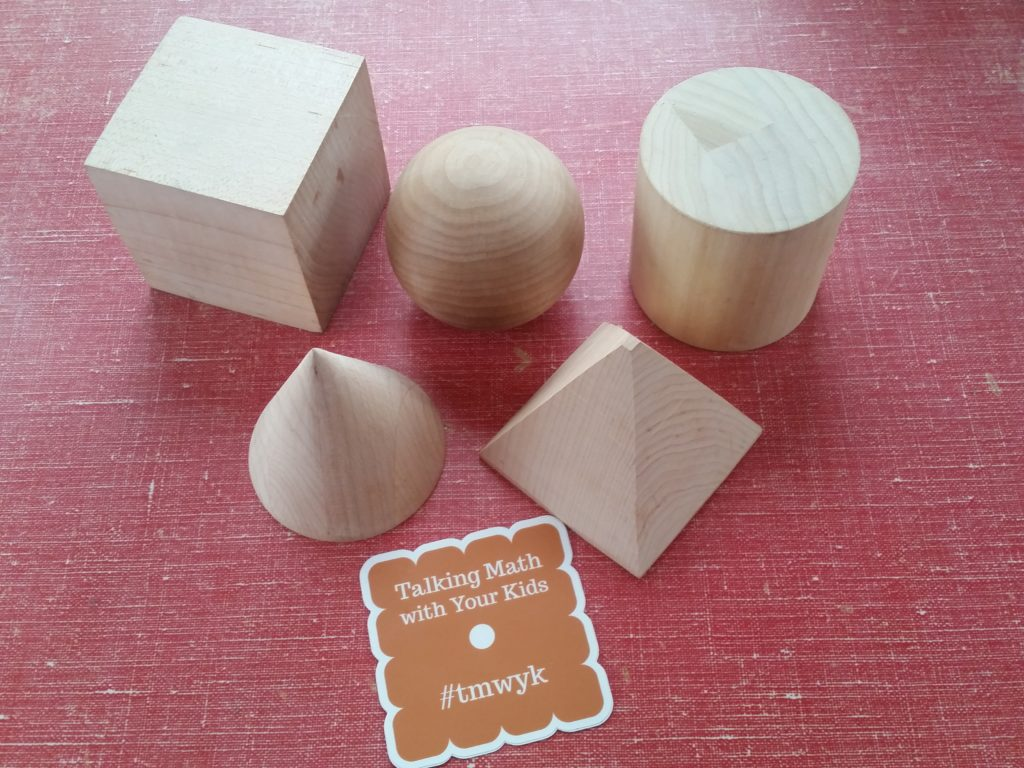 Five solids with a common height and width—cube, sphere, cylinder, cone, and pyramid