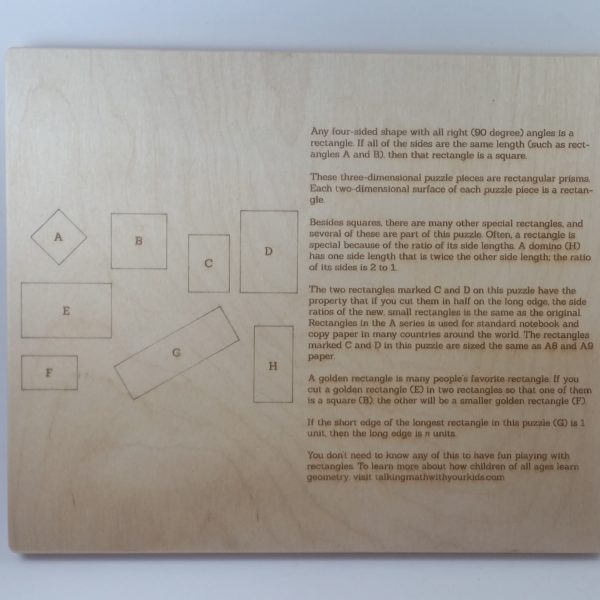the back of the rectangle puzzle, with images and text