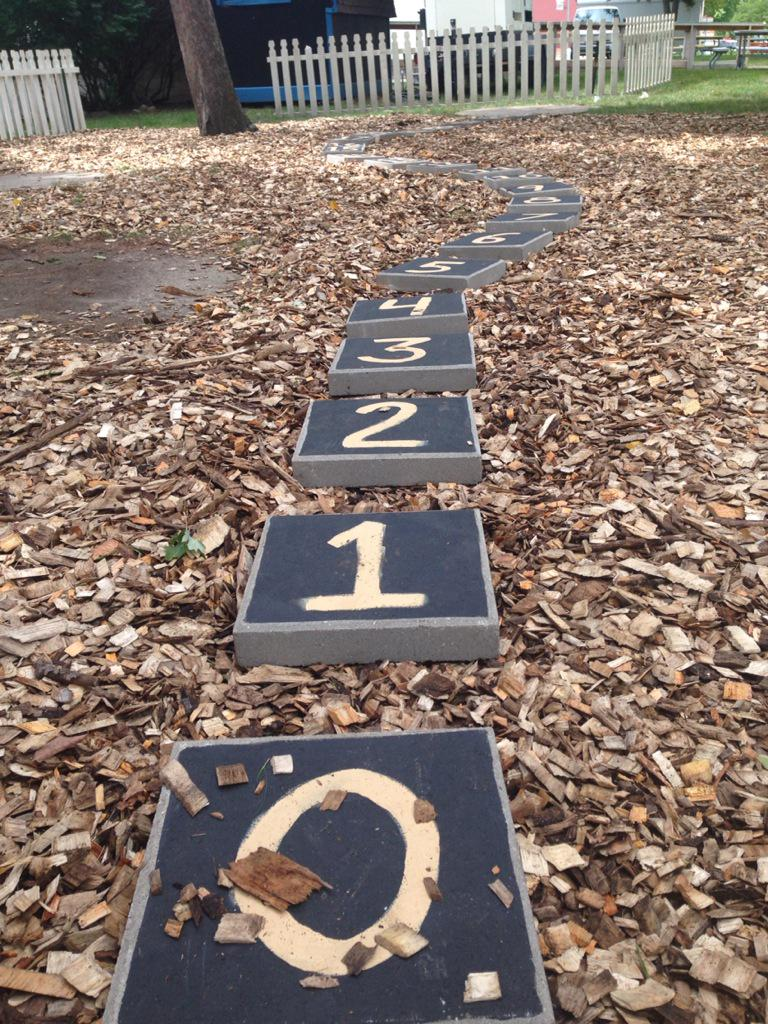 Stepping stones 0 through 23 winding through a field of wood chips, ready for visitors at Math On-A-Stick